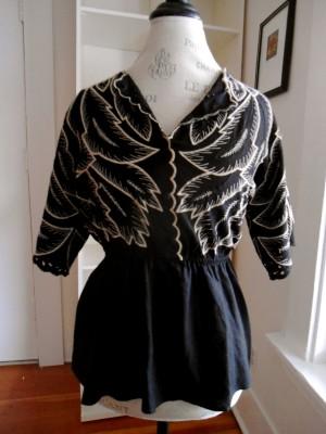 anthropologie black leaf embroidered peplum shirt