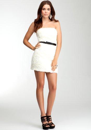 bebe rosette strapless dress