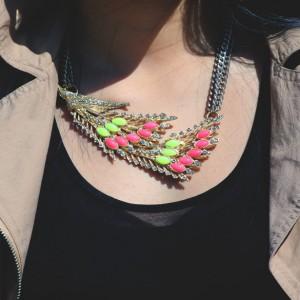 zara neon statement necklace